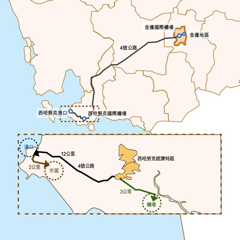 圖:西哈努克港經濟特區(SSEZ)位置。