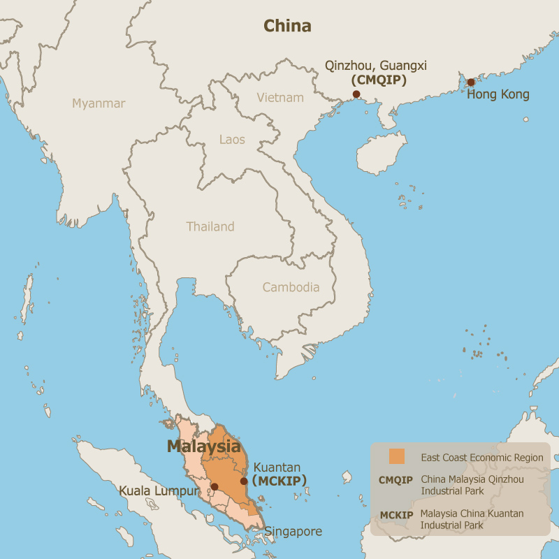 "Photo: ""Two Countries, Twin Parks"" model of co-operation between China and Malaysia."