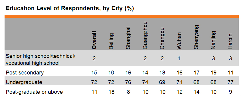 Table: Education Level of Respondents, by City (%)