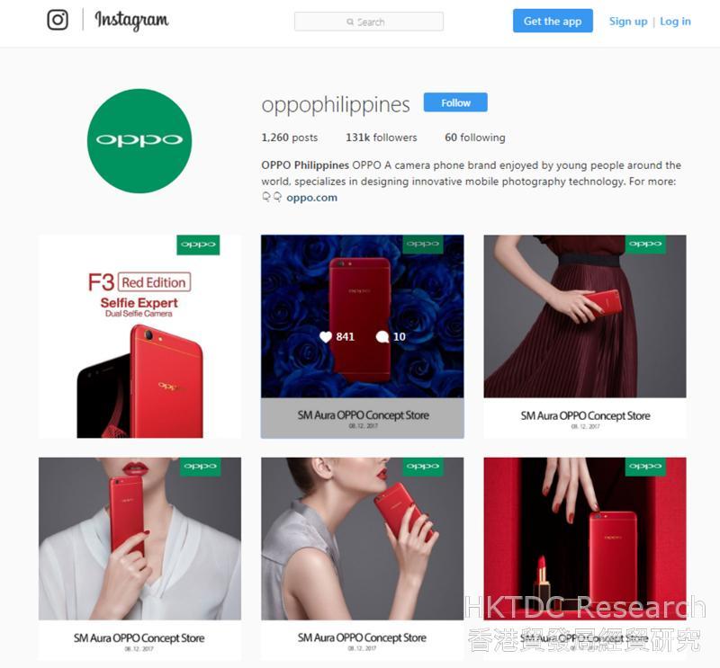 图: Oppo手机在Instagram的页面设计富时尚气息。