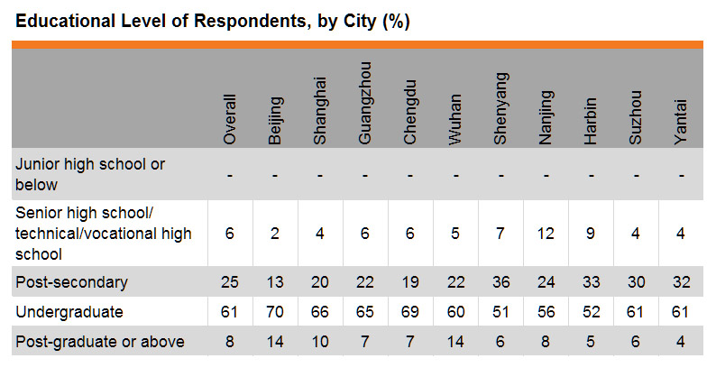 Table: Educational Level of Respondents, by City (%)