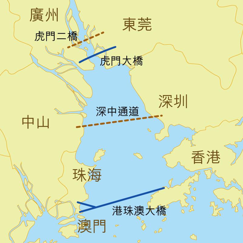 圖:珠江西岸與東岸主要交通幹線。