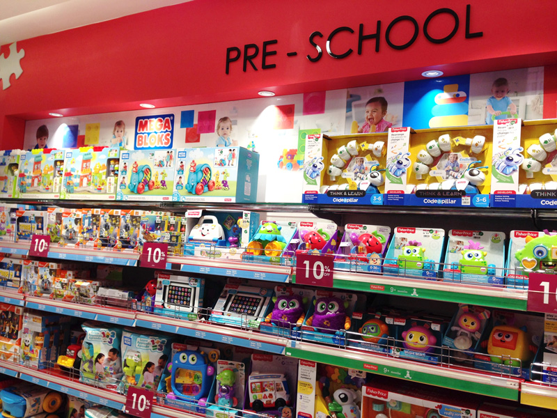 Photo: Toys for pre-school children in a department store.