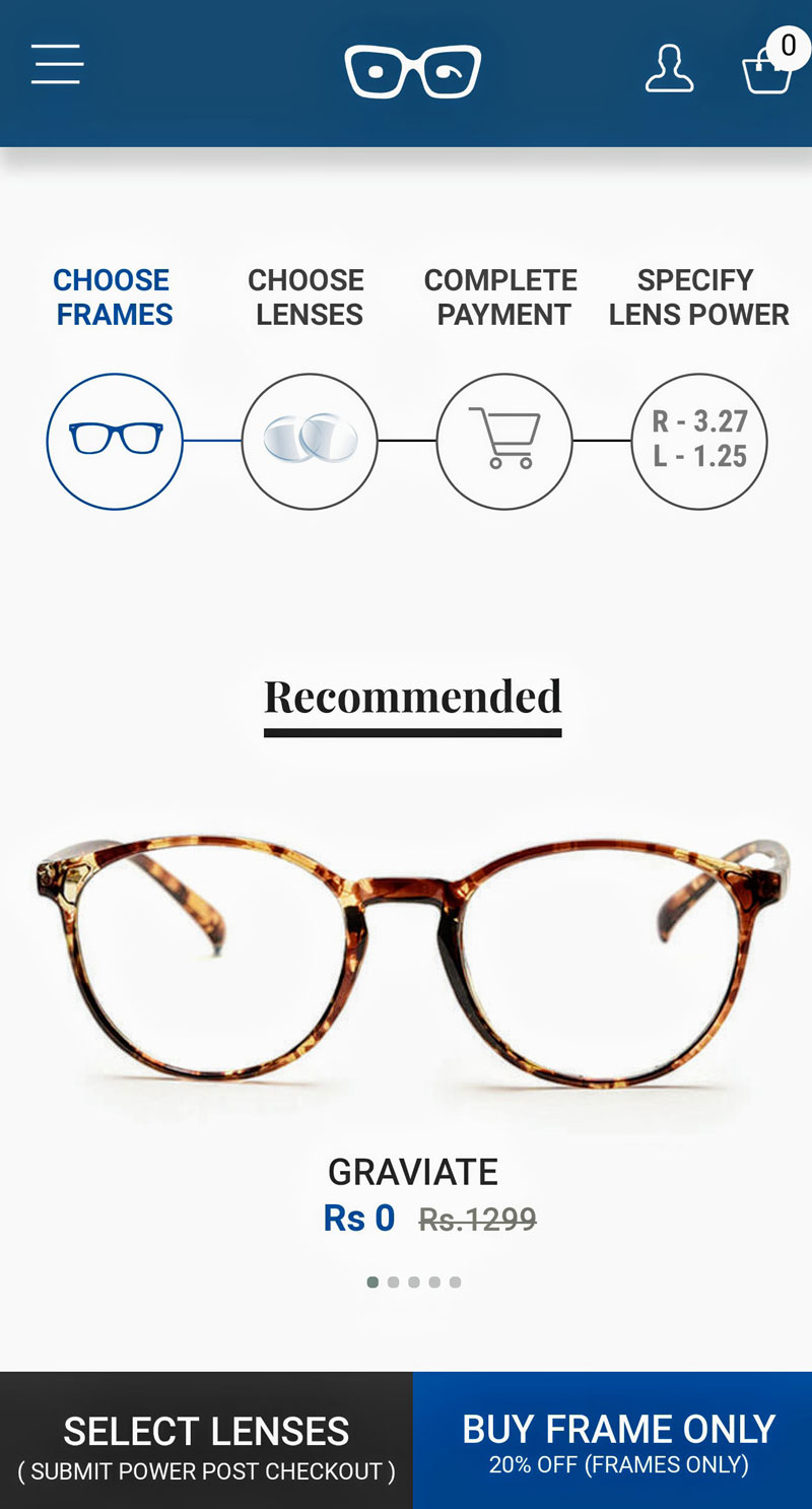Photo: Online shopping of prescription eyewear.