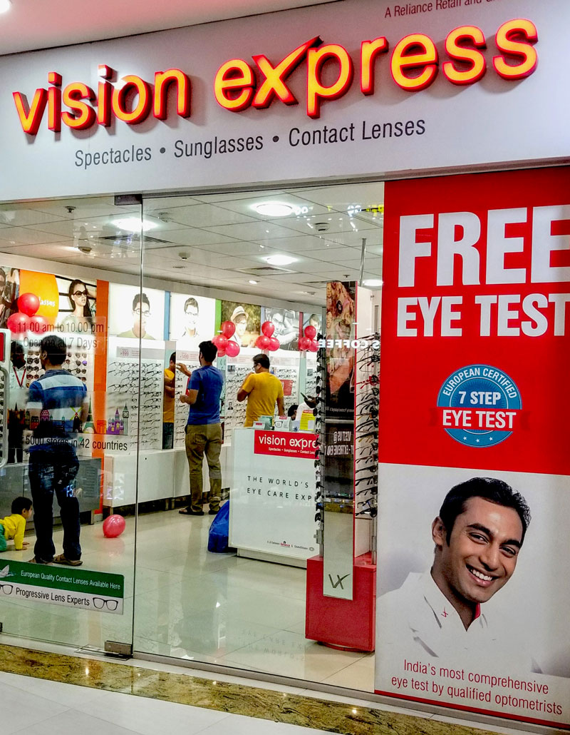 Photo: Many optical shops entice customers with free eye tests.