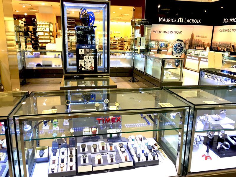 Photo: A number of international watch brands in a Bangkok department store.
