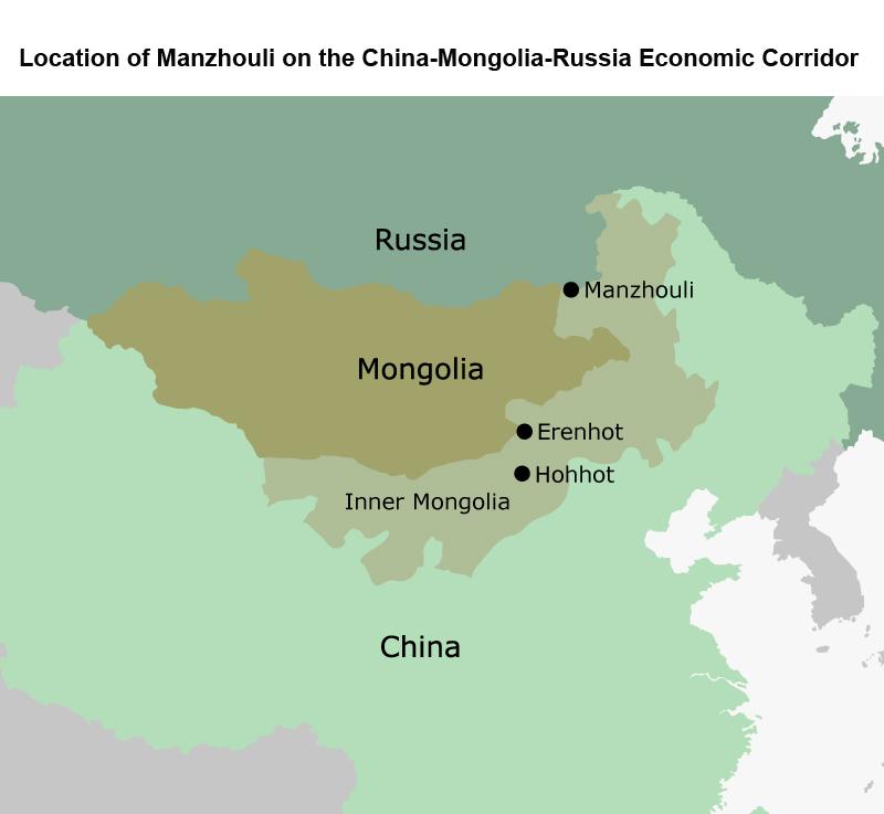 Map: Location of Manzhouli on the China-Mongolia-Russia Economic Corridor