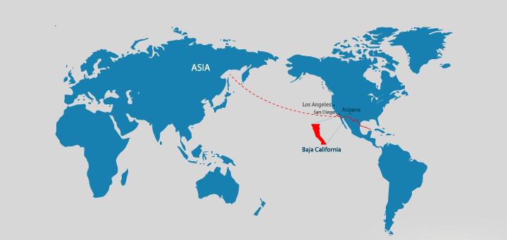 图片:墨西哥所有州份中,下加州与亚洲距离最近,而蒂华纳则是该州的最大城市。