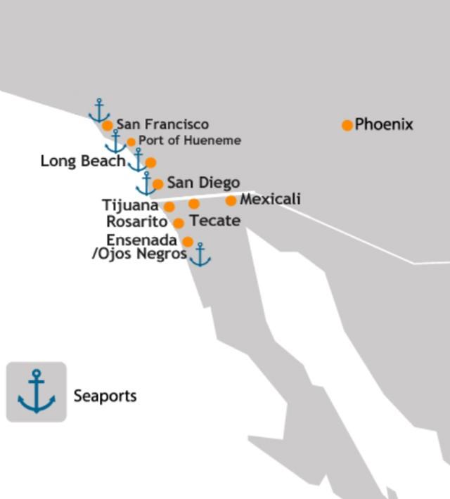 图片:蒂华纳透过陆路(道路及铁路)、海路及空运,与墨西哥及美国的港口连接。