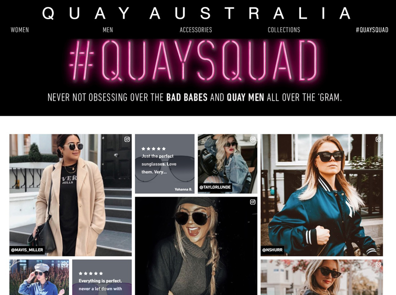 相片: Quay Australia在网上建立了一个名为#QUAYSQUAD的粉丝群,成员很多都是对品牌甚为忠诚的千禧世代顾客。