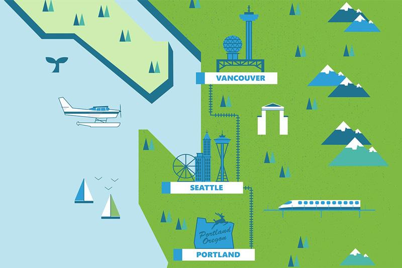 圖片:耗資9,000億美元、長600公里的卡斯卡迪亞創新走廊在跨境發展方面有示範作用。