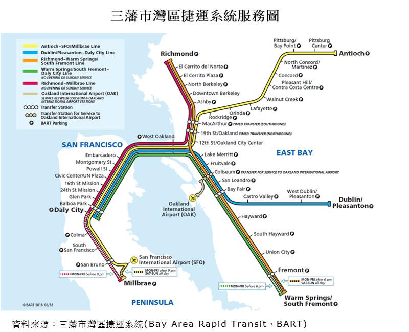 圖片:三藩市灣區捷運系統服務圖