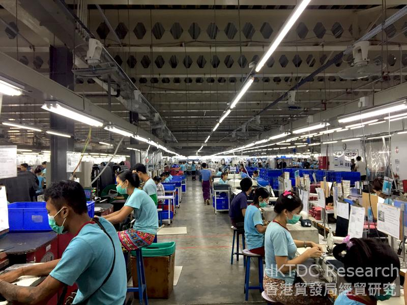 Photo: A handbag factory in Yangon.