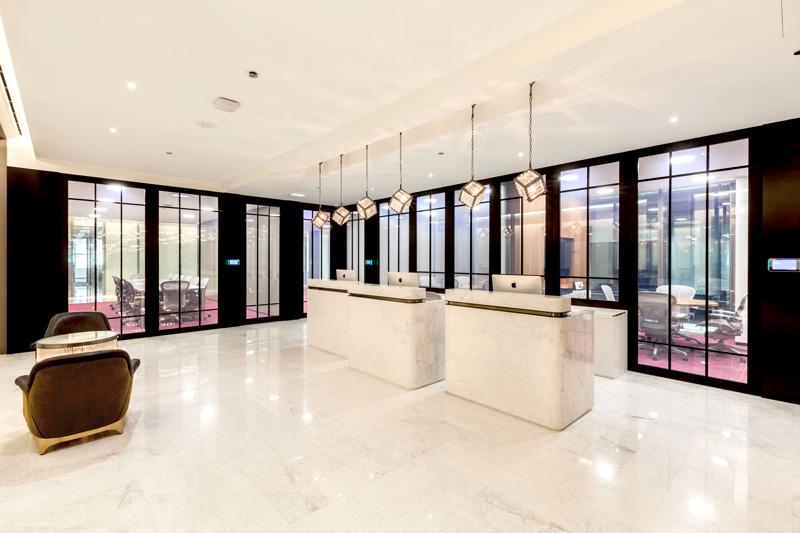 Photo: Reception area of TEC's serviced-office in Dubai.