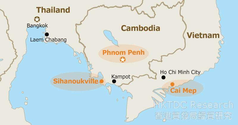 Map: Locations of key ports in Cambodia.