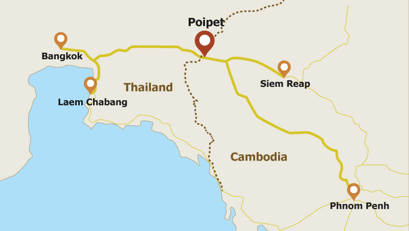 Map: Poipet - a Cambodian town at the border with Thailand.