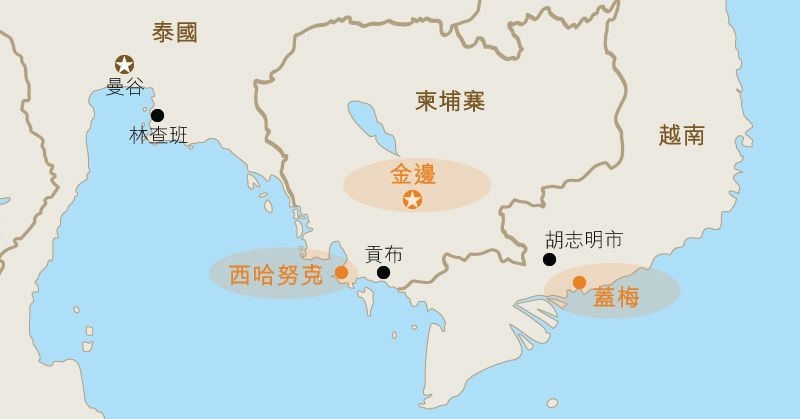 地图: 柬埔寨主要港口的位置。