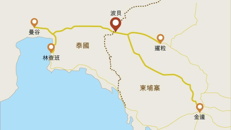 地图: 柬埔寨城镇波贝与泰国边境接壤。