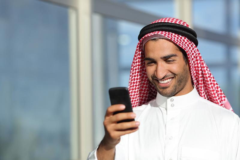相片: 沙特阿拉伯的智能手机普及率在海湾合作委员会地区领先。