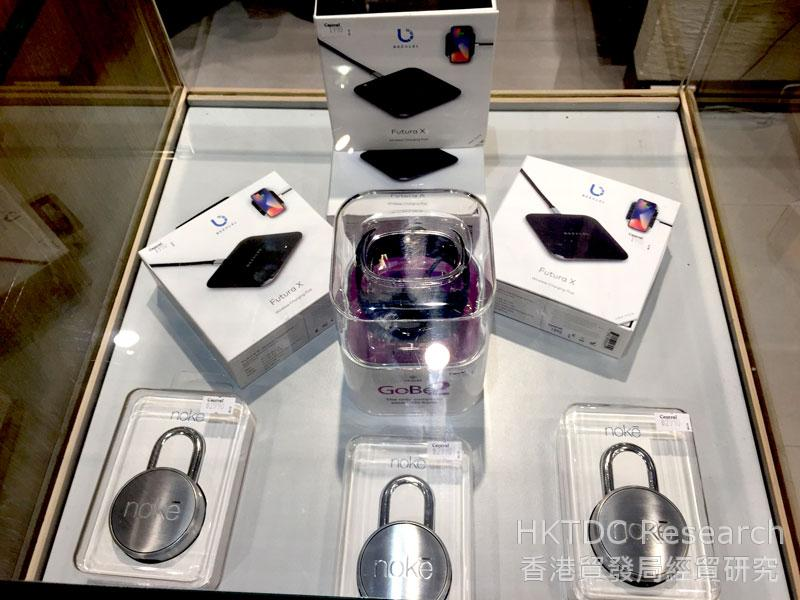 Photo: Wireless Charging products displayed in the department store.