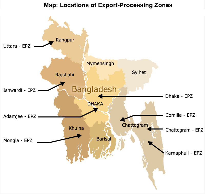 Map: Locations of Export-Processing Zones