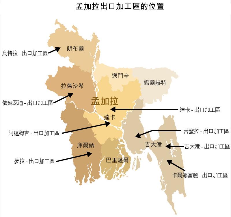 地图: 孟加拉出口加工区的位置