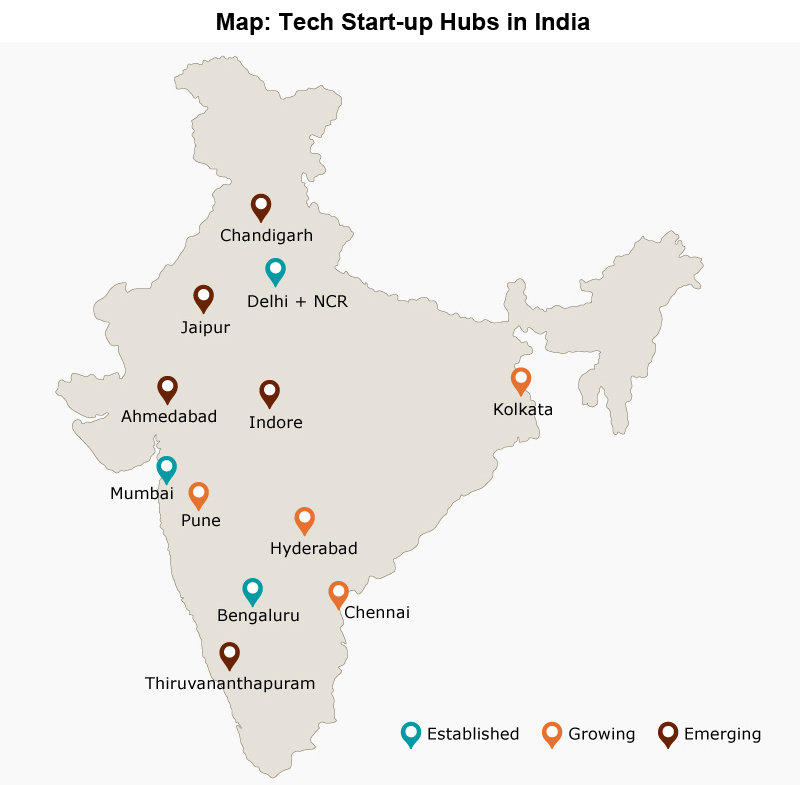 Map: Tech Start-up Hubs in India