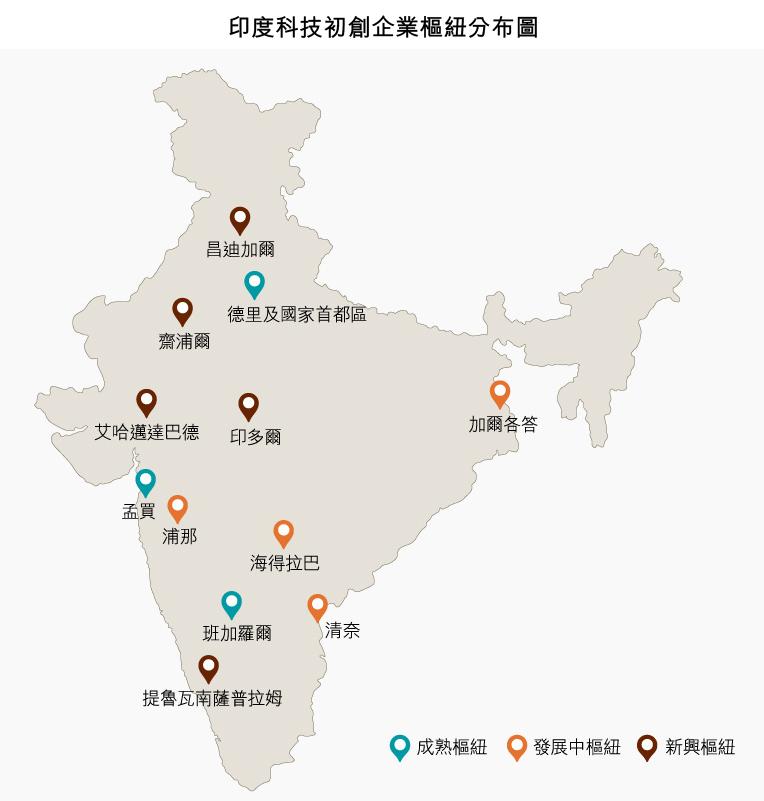 地圖: 印度科技初創企業樞紐分布圖