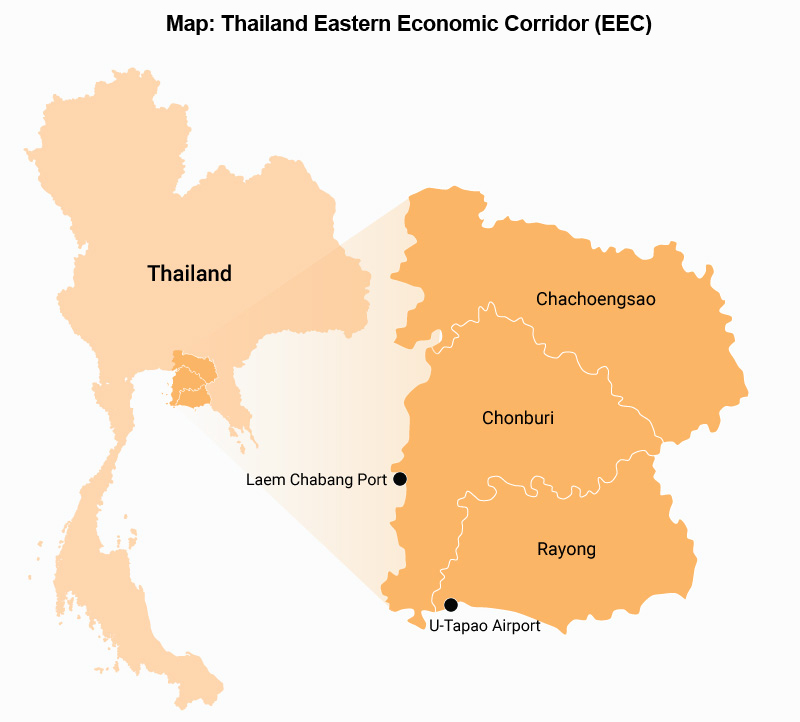 Map: Thailand Eastern Economic Corridor (EEC)