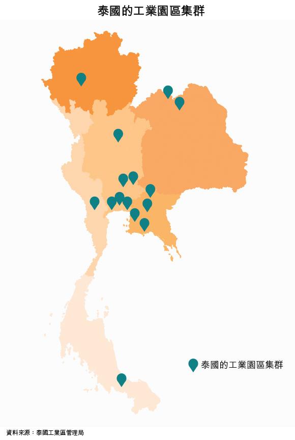 地图: 泰国的工业园区集群