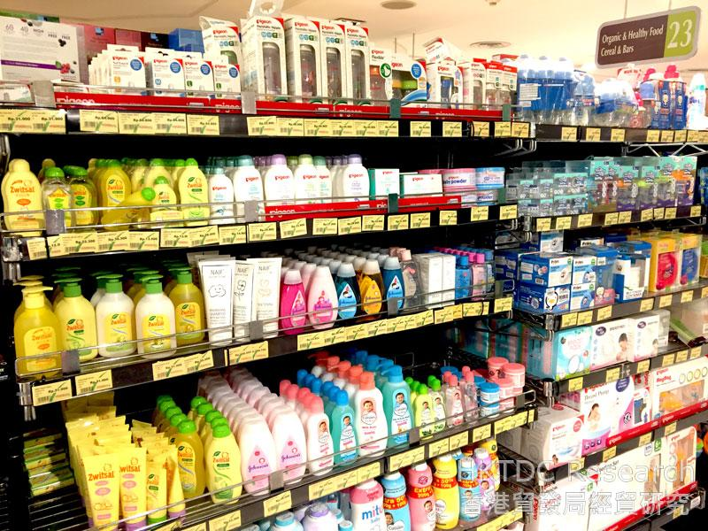 Photo: A wide variety of imported baby care products.