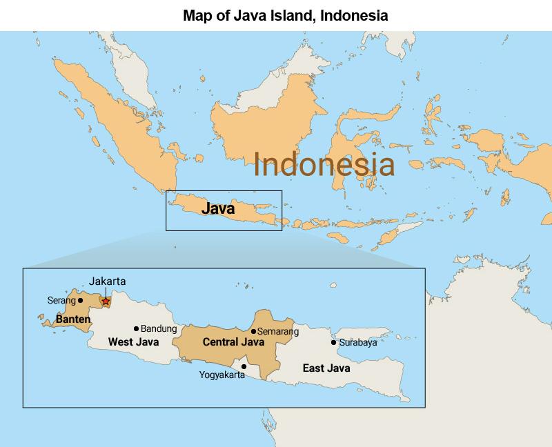 Map: Java Island, Indonesia