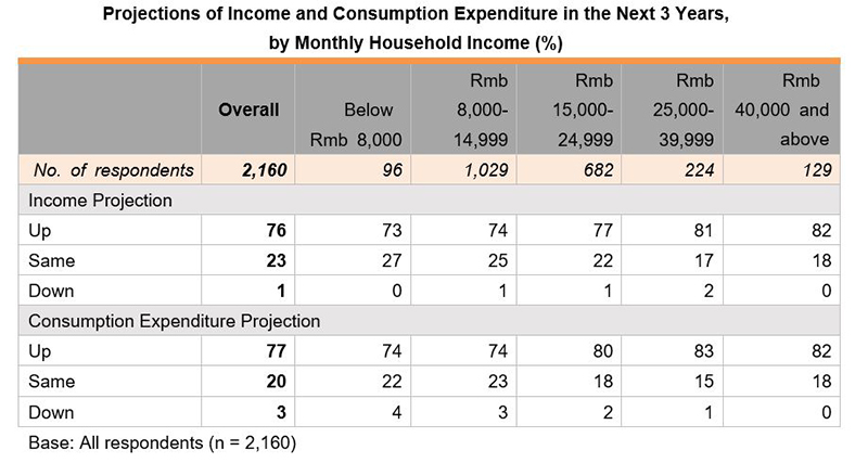 Table: Projections of Income and Consumption Expenditure in the Next 3 Years, by Monthly Household Income (%)