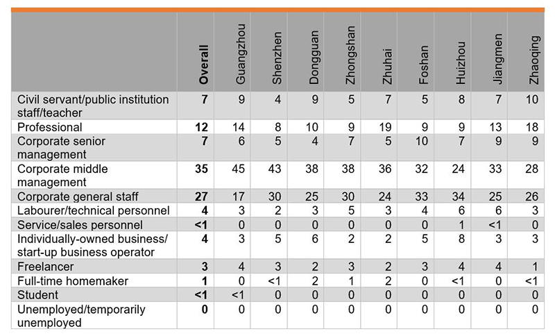 Table: Occupation of Respondents (%)